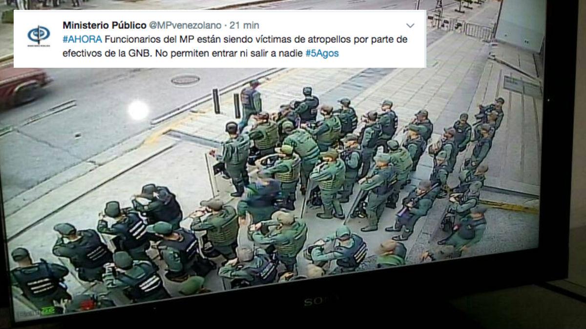 El ejército bolivariano de Maduro ha tomado las inmediaciones del Ministerio Público de Venezuela. Foto: @Lortegadiaz