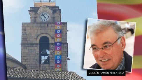 Pancarta en la Iglesia de la que es titular Ramón Alventosa.
