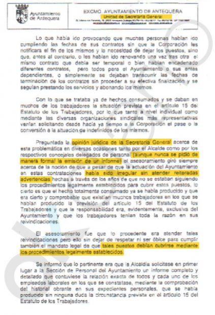 El secretarioo y el interventor advierten de las irregularidades en la contratación de Espejo en el Ayto. de Antequera