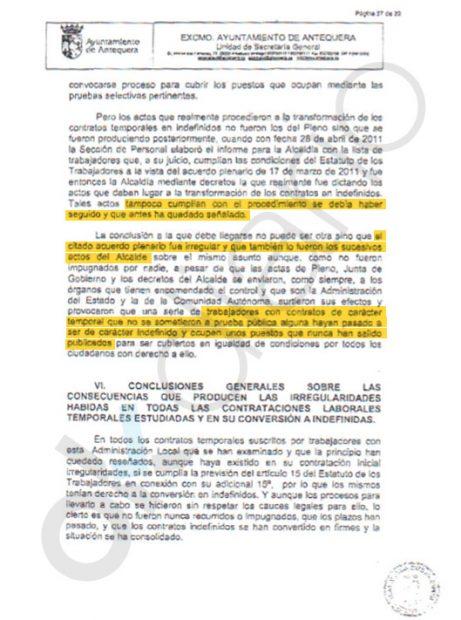El secretario y el interventor del Ayto. de Antequera advierten de que el proceso fue irregular