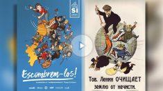 A la izquierda, el cartel de la CUP. A la derecha, el original protagonizado por Lenin en 1920.