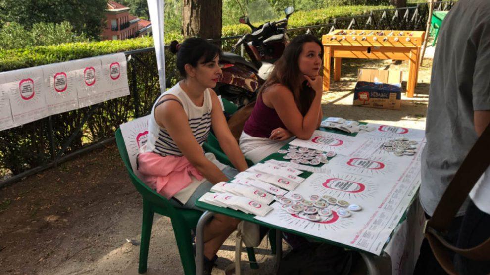Punto violeta contra las agresiones sexuales instalado en las fiestas de La Paloma de Madrid.