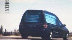 Coche fúnebre a 150 km/h en Tudela. (Foto: Policía Foral)