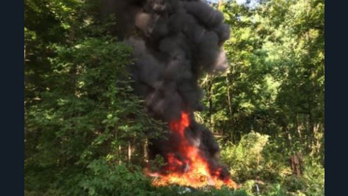 Helicóptero accidentado en Charlottesville.