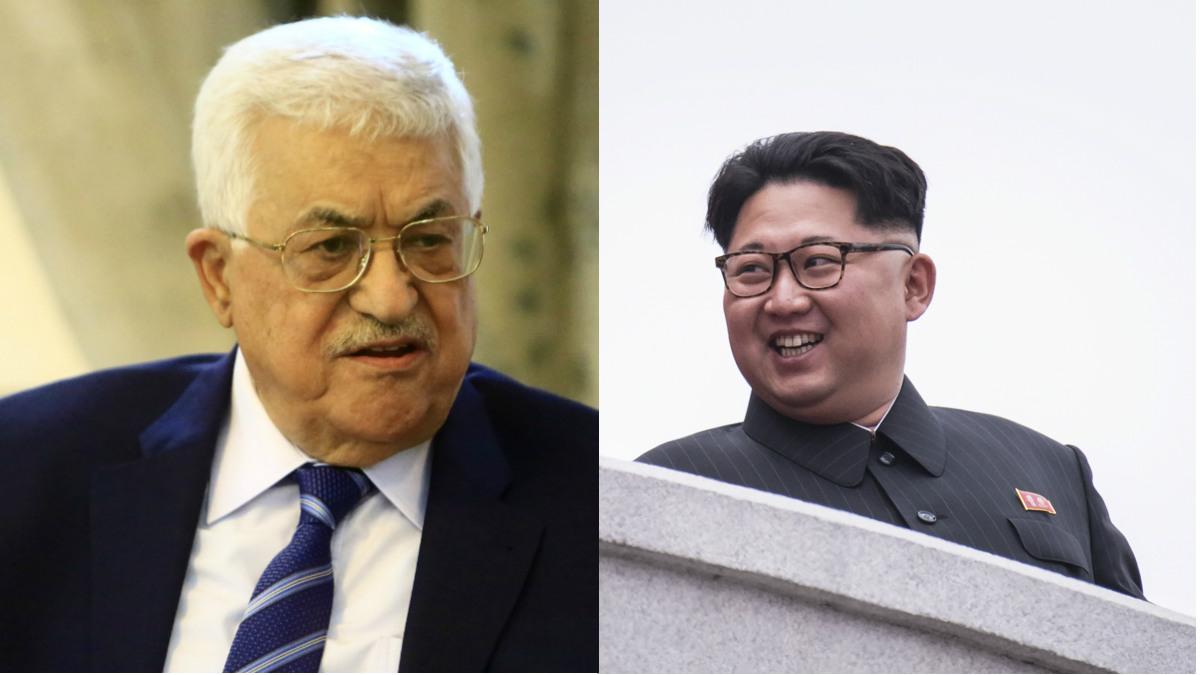 El líder palestino, Mahmud Abbas, y el dictador norcoreano, Kim Jong-un.