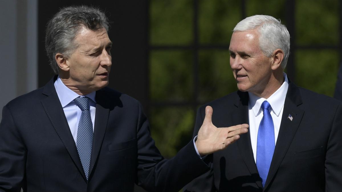 El presidente argentino Mauricio Macri y el vicepresidente de EEUU, Mike Pence, en Buenos Aires. (AFP)