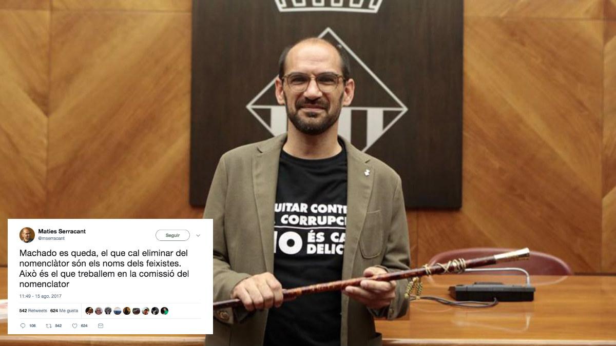 Maties Serracant, alcalde de Sabadel, con la vara de mando al asumir el cargo.