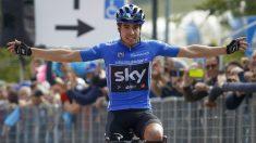 Mikel Landa celebra su victoria en el Giro de Italia. (AFP)