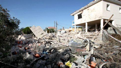 La casa de la célula yihadista en Alcanar tras la explosión.