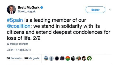 Brett McGurk, enviado de EEUU a la coalición contra el ISIS, en su tuit de apoyo a España tras el atentado de Barcelona.
