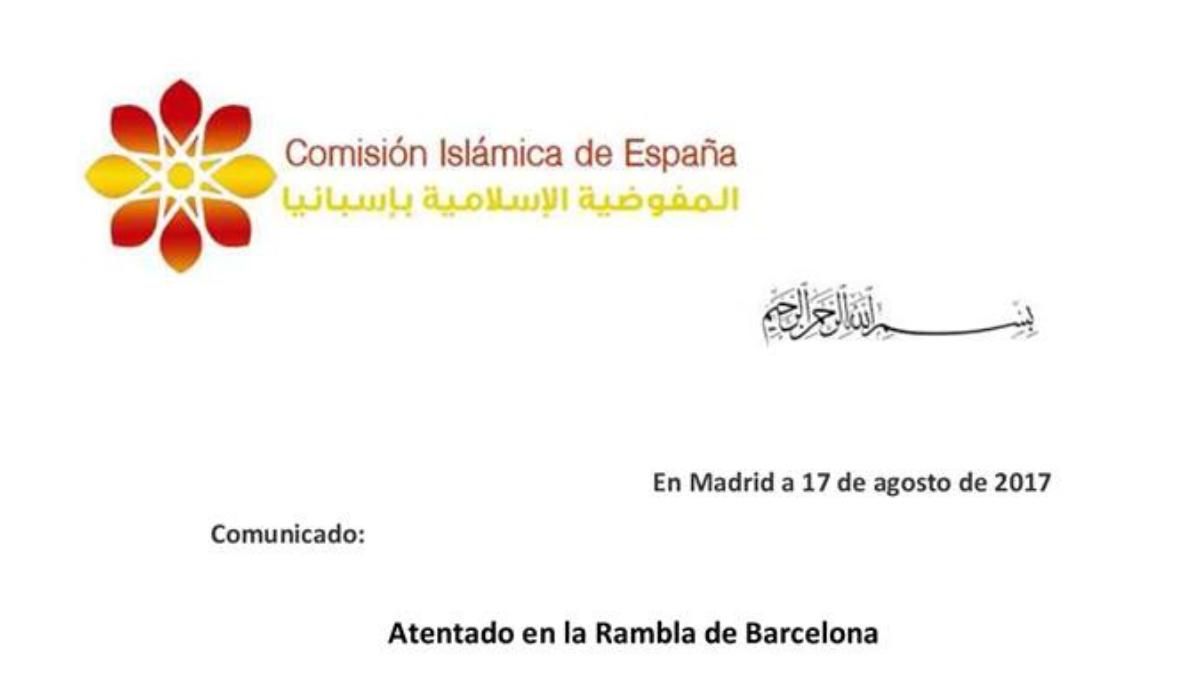 Comunicado de la Comisión Islámica de España sobre el atentado de Barcelona.