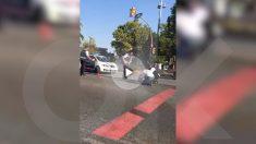 Vídeo grabado por un conductor que circulaba por la Diagonal de Barcelona.