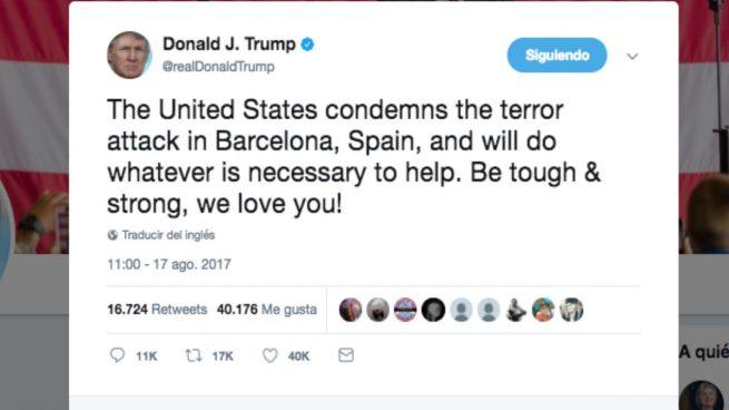 """Donald Trump tras el atentado de Barcelona: """"Sed fuertes, os amamos"""""""