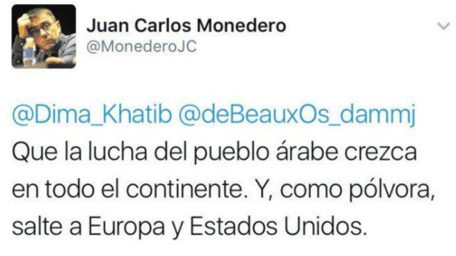 El tuit que Monedero quisiera olvidar cada vez que el terrorismo yihadista golpea a Europa