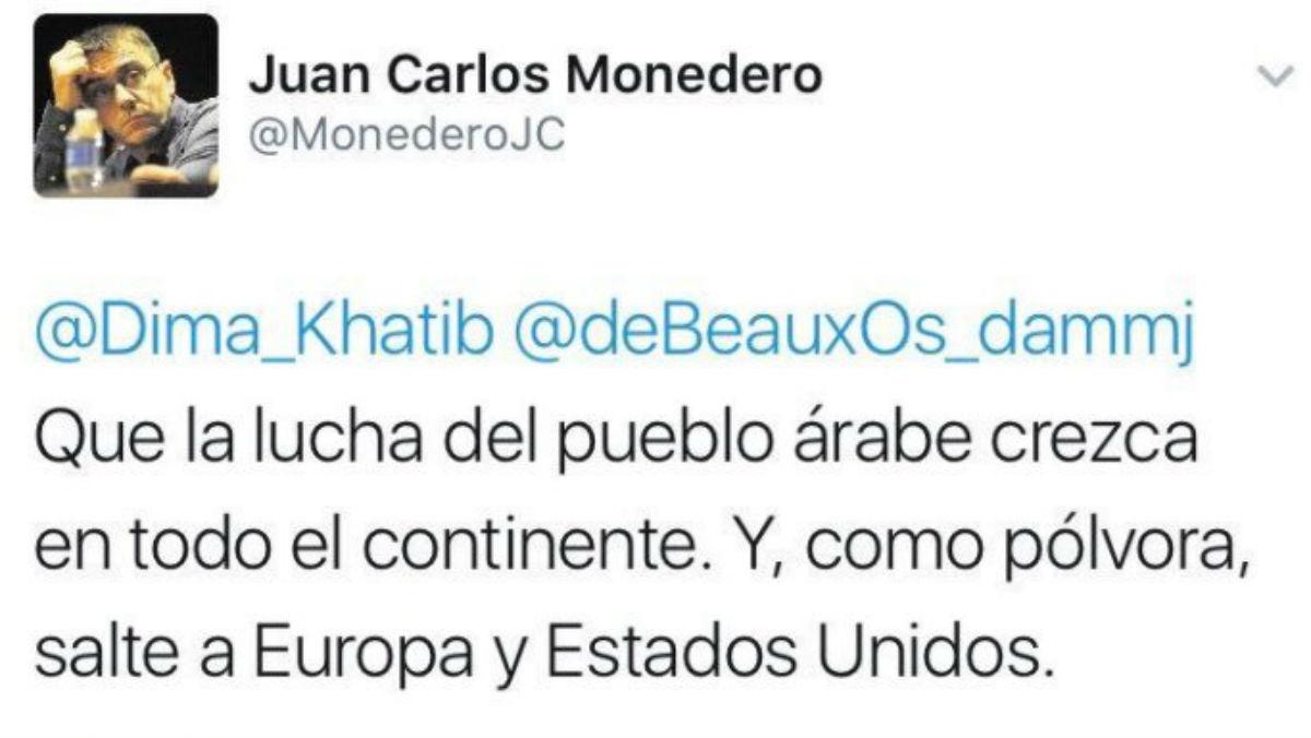 Tuit publicado por Juan Carlos Monedero en febrero de 2011.