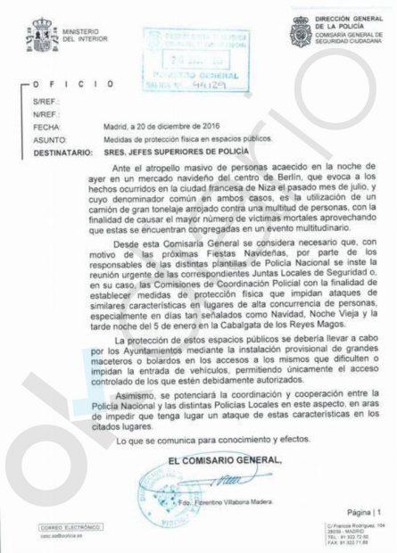 Carta del Ministerio de Interior. (Pinchar para ampliar).