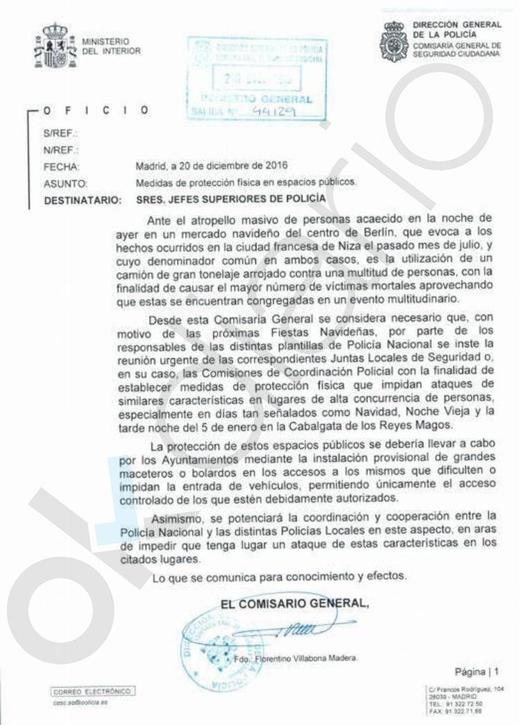 Atentado barcelona esta es la carta que demuestra que for Ministerio del interior spain