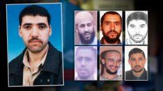 A la izquierda, el compañero de piso del imán de Ripoll Belgacem Bellil, que se inmoló en Irak. A la derecha, seis de los terroristas detenidos en Vilanova i la Geltrú en 2006: Mohamed Mrabet Fahsi, Hassan Mordoude, Abdelhak Boudina, Mustafa Fawzi Ait Oudris, Mohamed Samadi y Mustafa Es Satty.