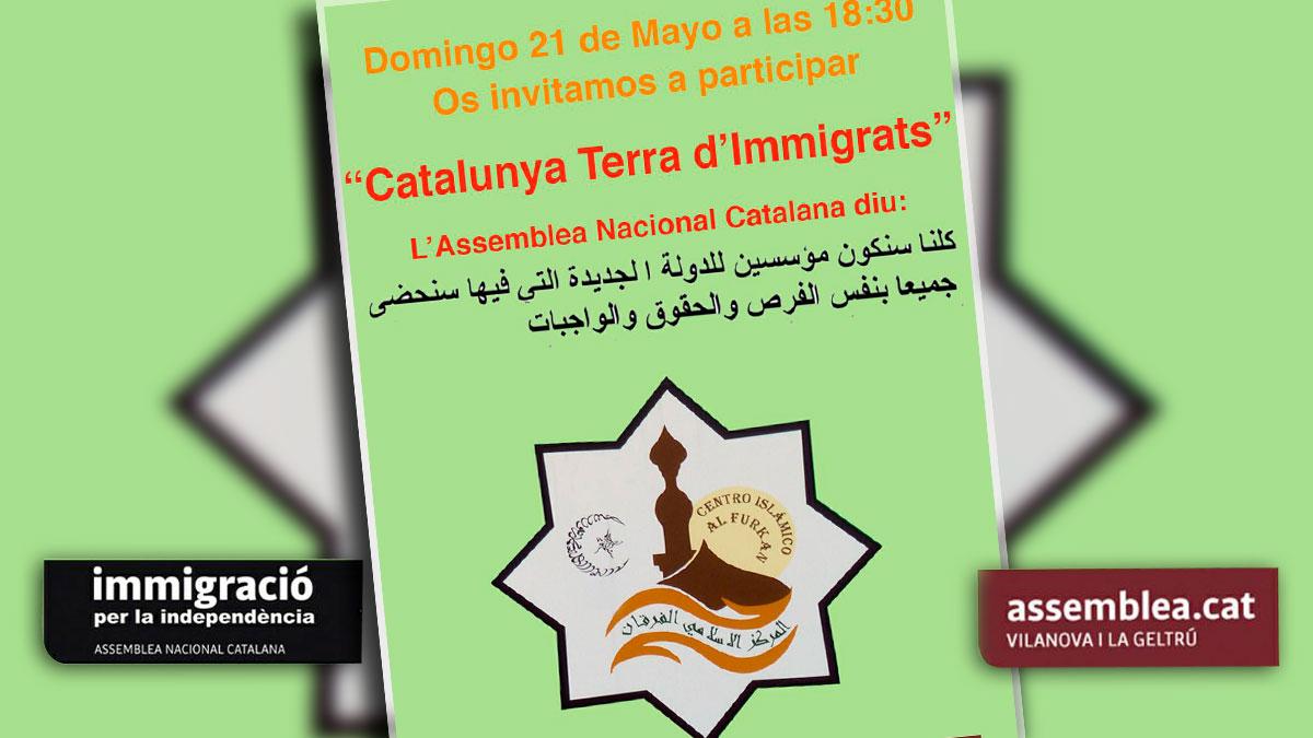 Cartel del acto celebrado por la ANC el pasado mes de mayo en la mezquita de Vilanova i la Geltrú.