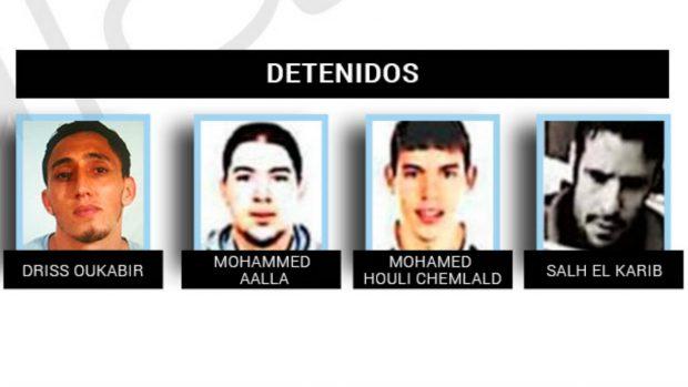 Los cuatro detenidos en relación al atentado de Barcelona y Cambrils.