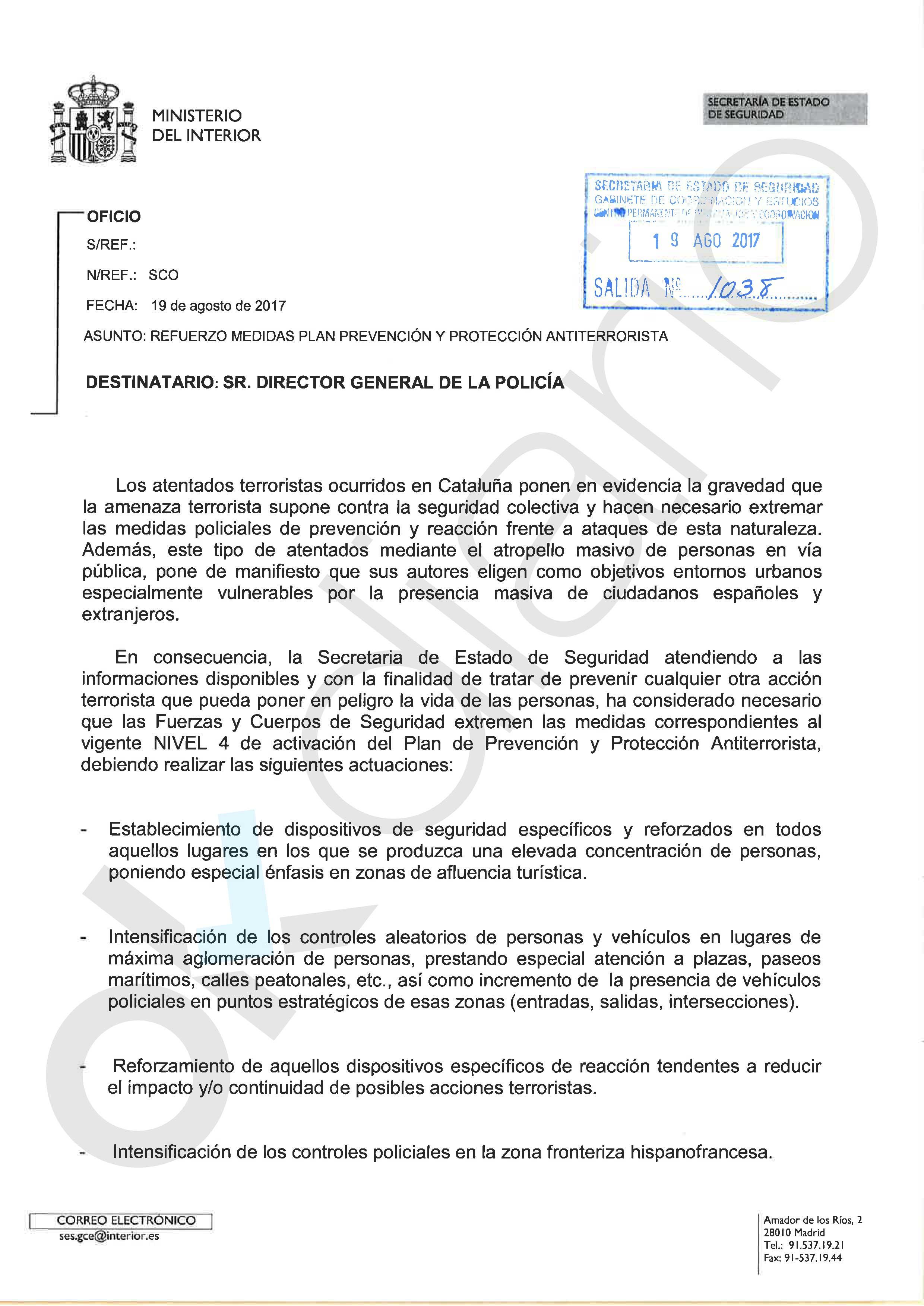 Carta de instrucciones de interior a la polic a m s for Notificacion ministerio del interior