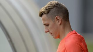 Lucas Digne durante un entrenamiento con el Barcelona. (AFP)