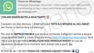 WhatsApp creado por los independentistas para movilizarse a favor del referéndum.
