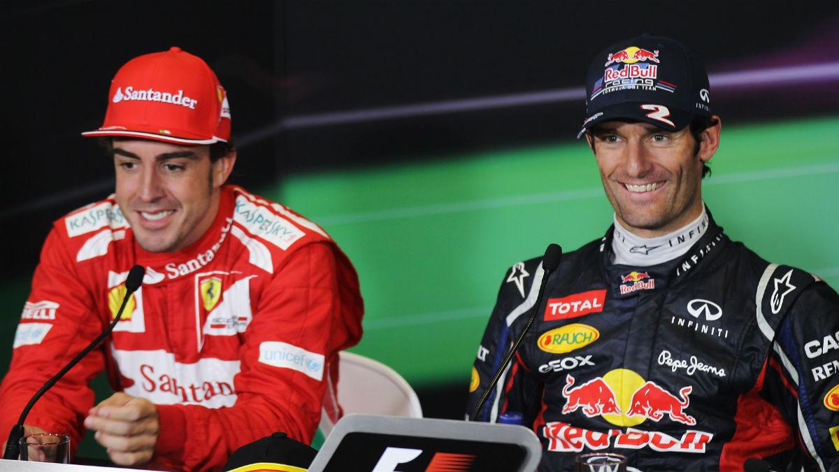 Fernando Alonso y Mark Webbert. (Getty)