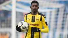 Ousmane Dembelé celebra un gol en la Bundesliga.