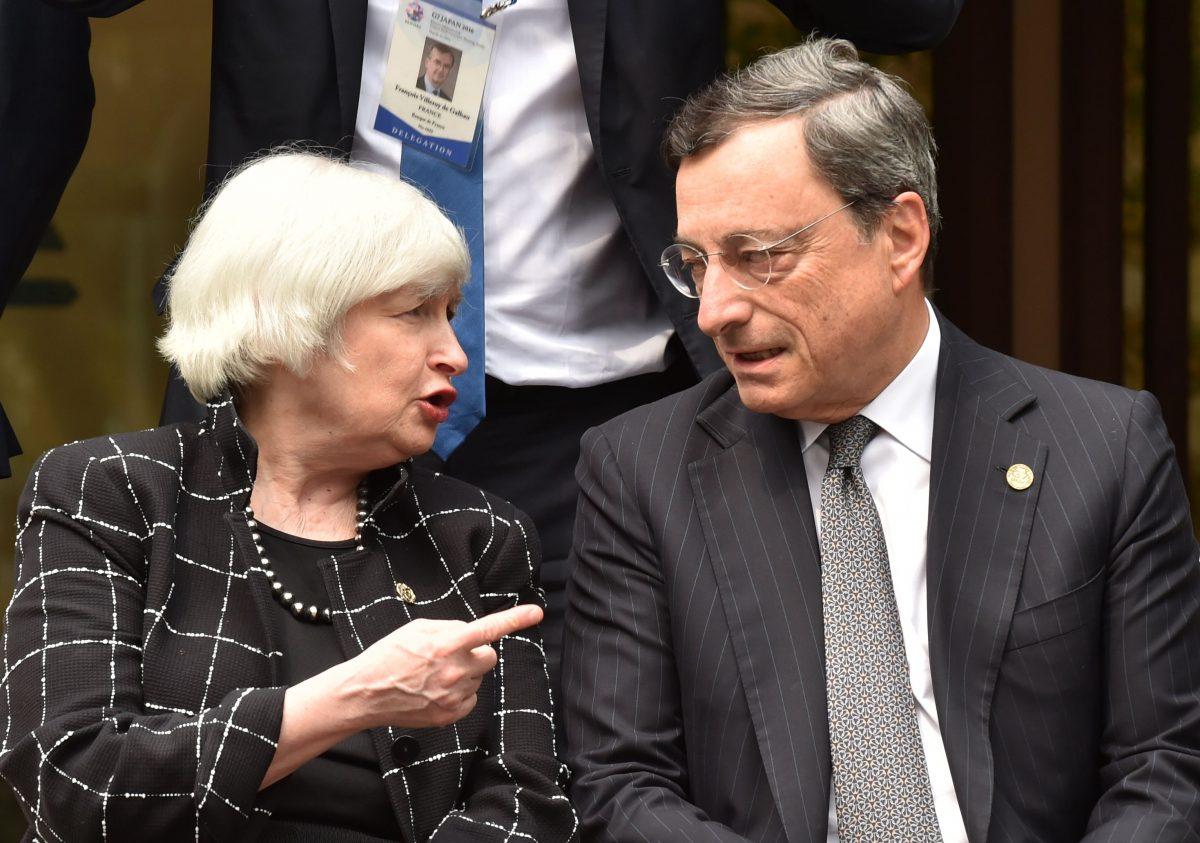 Mario Draghi, presidente del BCE y Janet Yellen, presidenta de la Fed (Foto. Getty)
