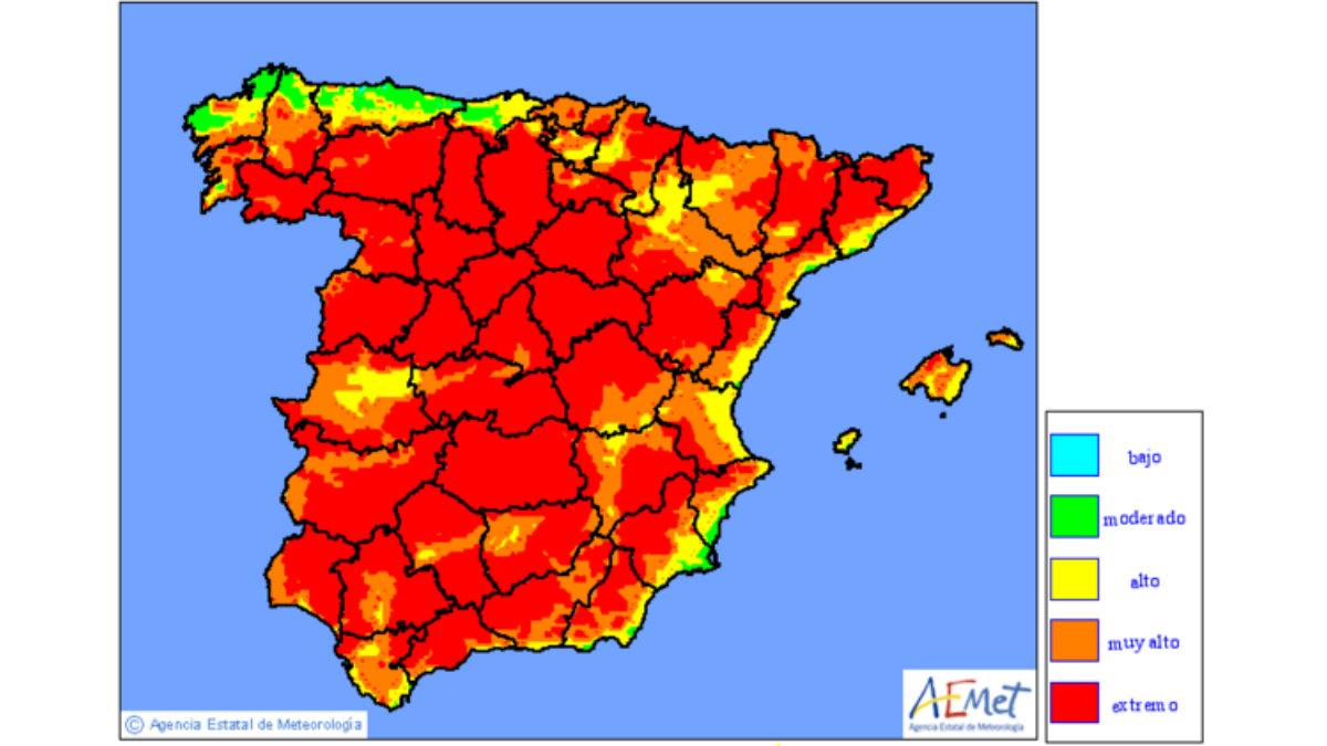 Mapa de riesgo de incendios distribuido por la AEMET para este fin de semana.
