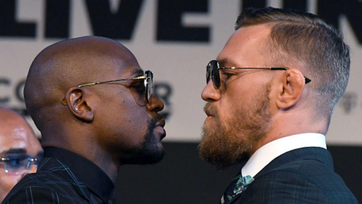 Floyd Mayweather y Conor McGregor durante la presentación de la velada en Las Vegas (Getty).