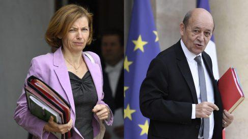 Los ministros de Defensa y Exteriores de Francia Florence Parly y Jean-Yves Le Drian. Foto: AFP