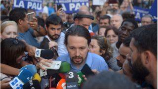 Pablo Iglesias, en la manifestación de este sábado en Barcelona.
