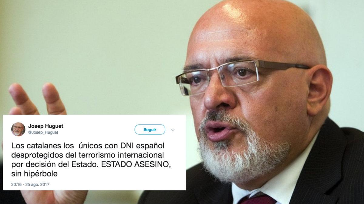 Josep Huguet carga contra el Gobierno en su cuenta de twitter.
