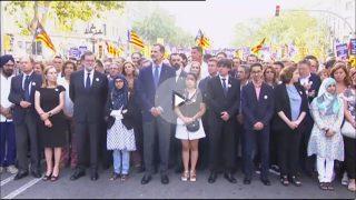 Manifestación contra el terrorismo, este sábado, en Barcelona.