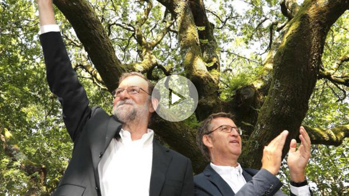 Rajoy y Feijóo este domingo en Galicia (Foto: Efe).