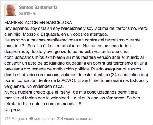 """El padre de un mosso asesinado por ETA sobre la marcha de Barcelona: """"Nunca me sentí tan despreciado"""""""
