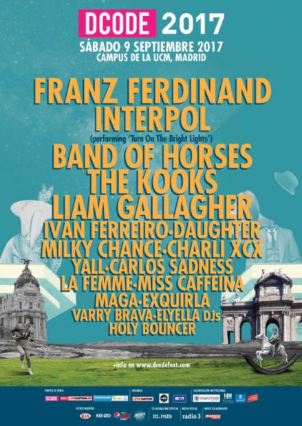 Cartel del DCODE 2017 con Franz Ferdinand como cabeza de cartel.
