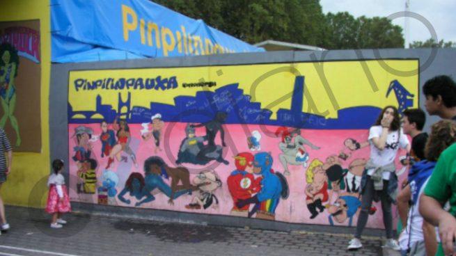 Un mural infantil 'sado' en plenas fiestas de Bilbao