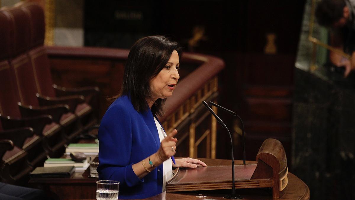 Margarita Robles, portavoz del PSOE, habla en el hemiciclo. (Foto: Francisco Toledo)