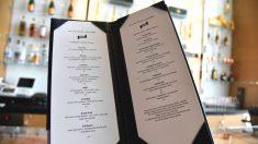 Carta de vinos de un restaurante