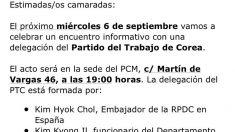 Mensaje del Partido Comunista de Madrid a sus «camaradas».