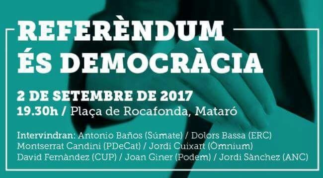 Podemos se une a la CUP, la ANC y ERC en su primer acto para defender sin caretas el referéndum ilegal