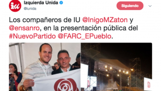 Los miembros de IU Íñigo Martínez y Enrique Santiago dando su apoyo en Colombia a la candidatura de las FARC.