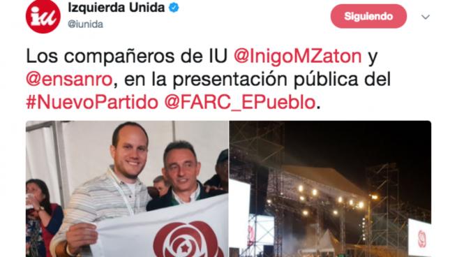 Izquierda Unida pide el voto para los narcoterroristas de las FARC en Colombia