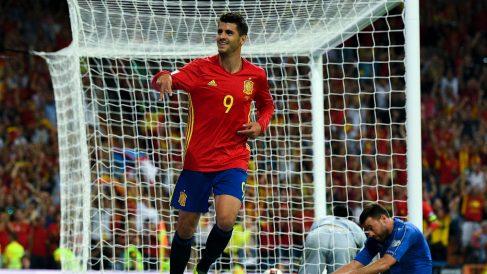 Álvaro morata, enla celebración del tercer gol a Italia (Getty).