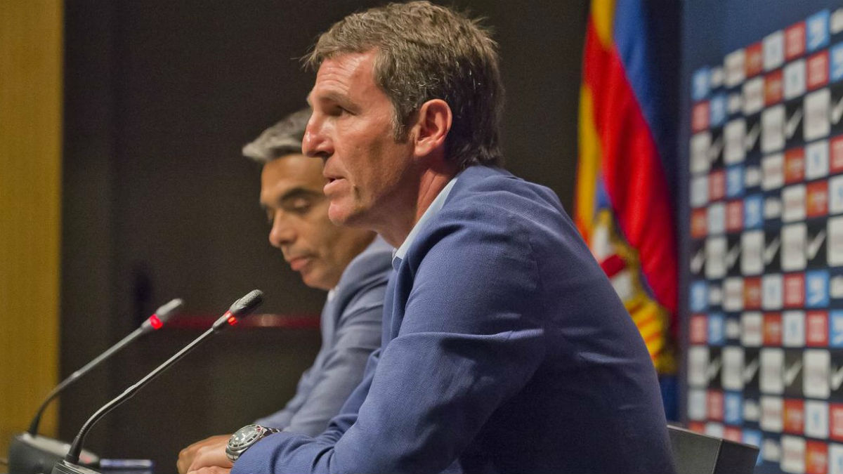 Robert Fernández y Albert Soler, en rueda de prensa. (fcbarcelona.com)
