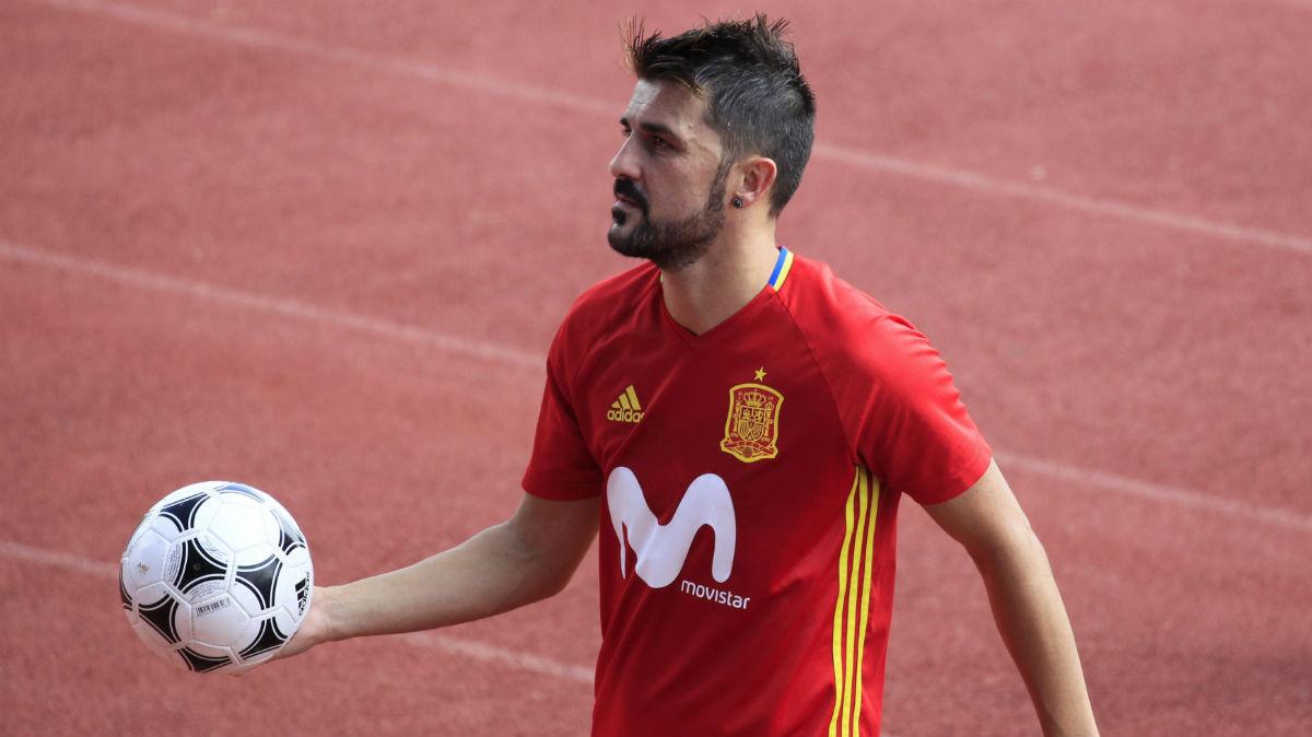 David Villa, en un entrenamiento en Las Rozas. (EFE)