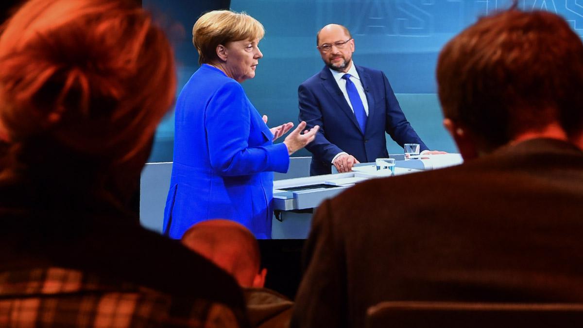 Angela Merkel y Martin Schulz en el debate electoral en Alemania (Foto: AFP)
